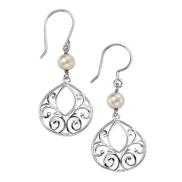Filigree Pearl Silver Drop Earrings-VAVOO