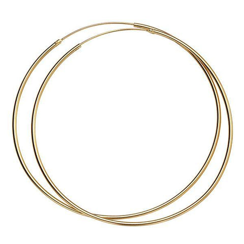 Large Gold Plated Silver Hoop Earrings-VAVOO