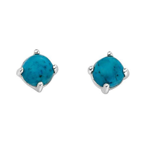 Turquoise Howlite Silver Stud Earrings-VAVOO