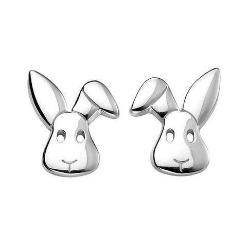 Bunny Silver Stud Earrings-VAVOO