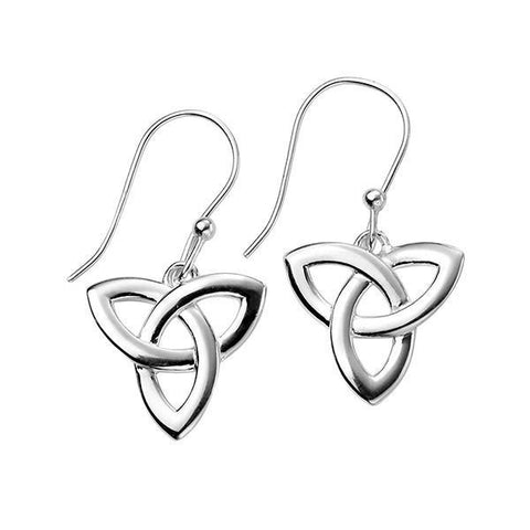 Celtic Triangle Silver Drop Earrings-VAVOO