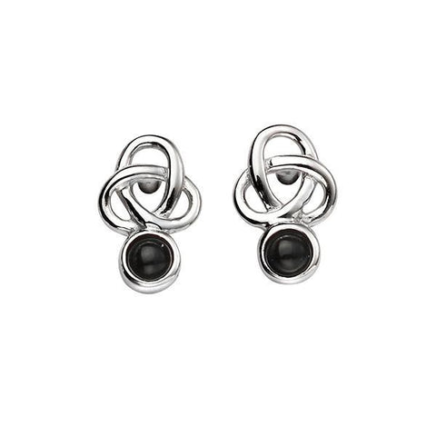 Black Agate Celtic Silver Earrings-VAVOO