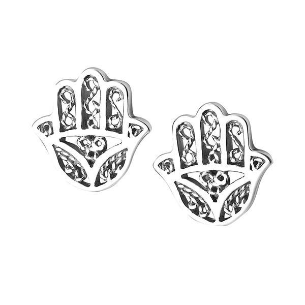 Filigree Hamsa Hand Silver Stud Earrings-VAVOO