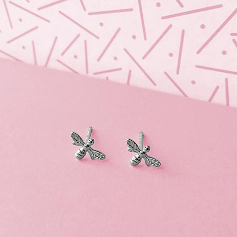Bee Silver Stud Earrings-VAVOO