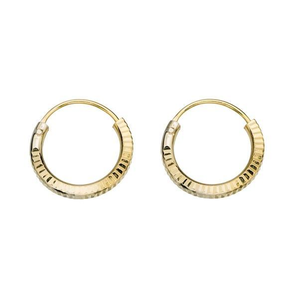 Diamond Gold Plated Silver Hoops 14mm-VAVOO