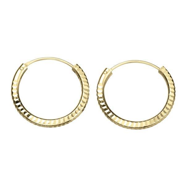 Diamond Gold Plated Silver Hoops 18mm-VAVOO