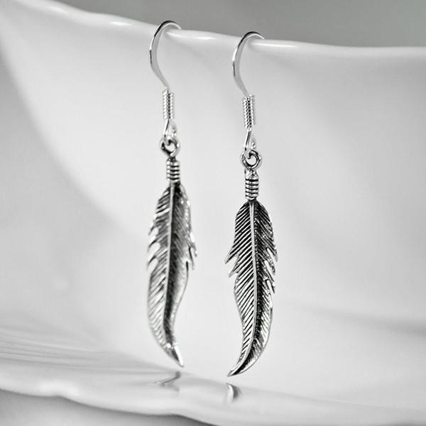 Feather Drop Antique Silver Earrings-VAVOO