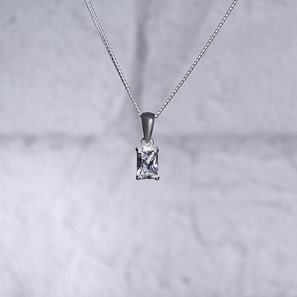Clear Baguette CZ Silver Necklace-VAVOO