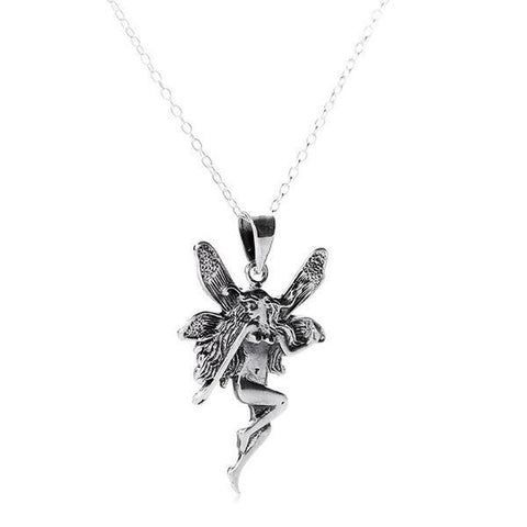 Antique Finish Large Fairy Silver Necklace-VAVOO