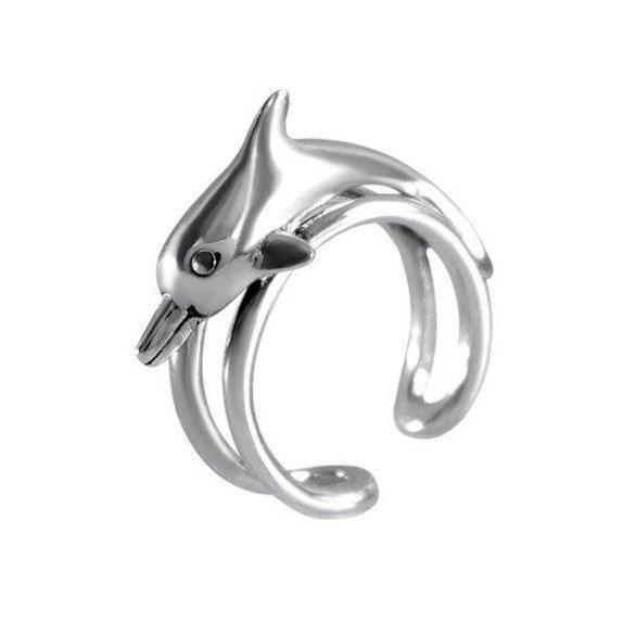 Adjustable Size Dolphin Silver Ring-VAVOO