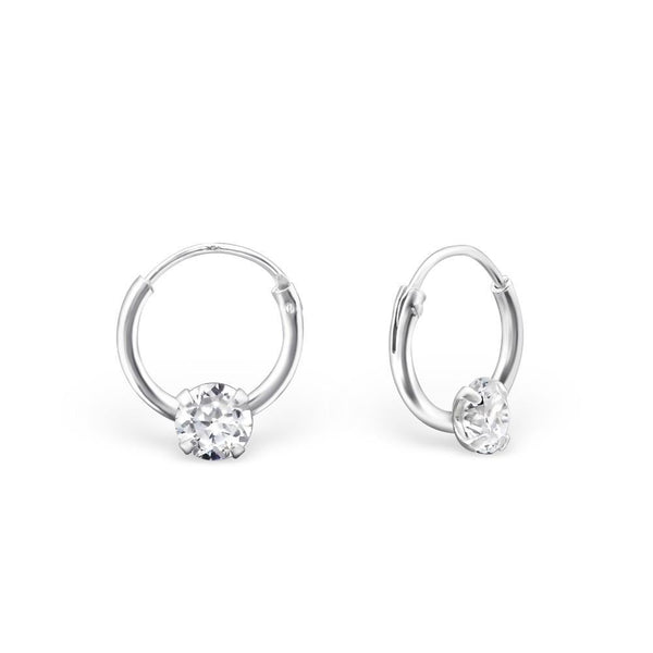 Clear CZ Silver Mini Hoop Earrings-VAVOO