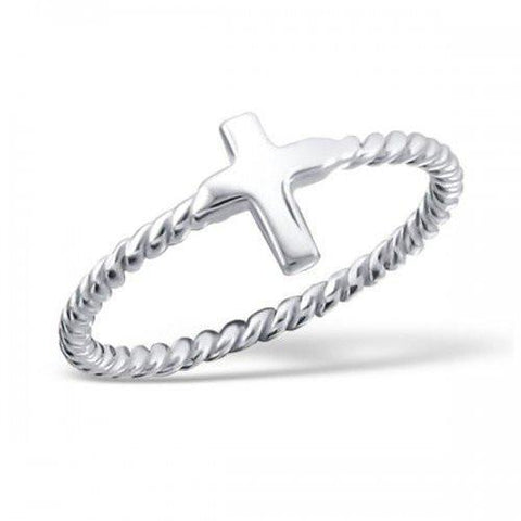 Braided Band Silver Cross Silver Ring-VAVOO