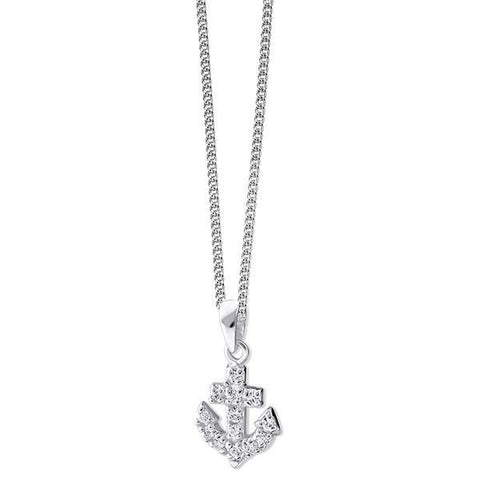 Pave CZ Silver Anchor Necklace-VAVOO