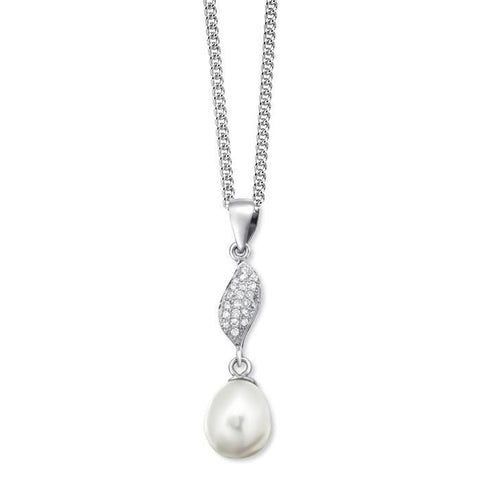 Pave CZ Freshwater Pearl Silver Necklace-VAVOO
