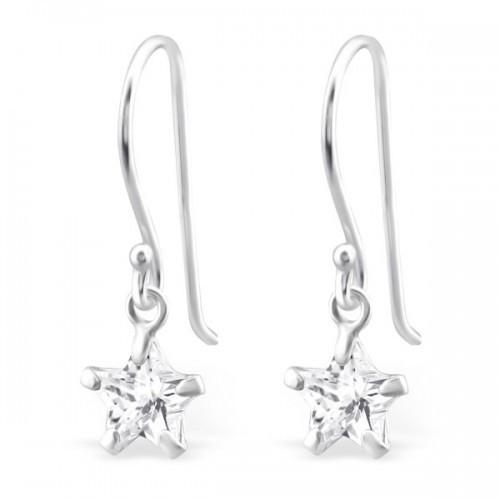 Star CZ Silver Drop Earrings-VAVOO