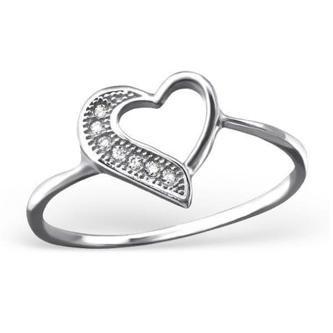 Pave CZ Heart Silver Ring-VAVOO