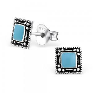Turquoise Enamel Square Silver Stud Earrings-VAVOO