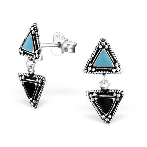 Inverted Triangles Silver Stud Earrings-VAVOO