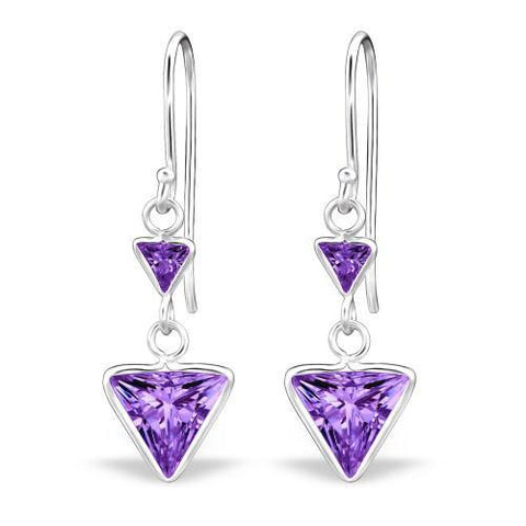Amethyst CZ Silver Drop Earrings-VAVOO