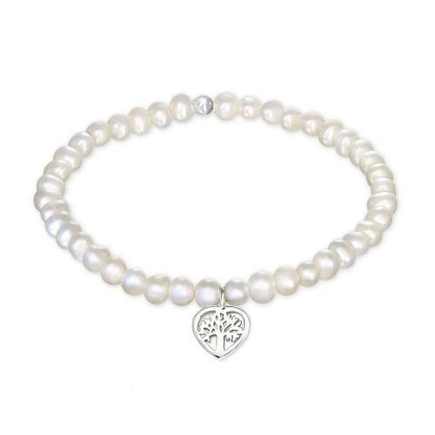 Tree Of Life Freshwater Pearl Silver Bracelet-VAVOO