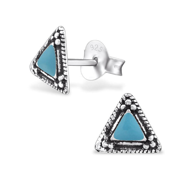 Turquoise Enamel Triangle Silver Stud Earrings-VAVOO