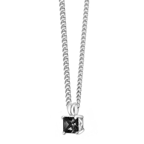 Black CZ Heart Frame Silver Necklace-VAVOO