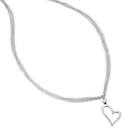 Open Heart Silver Necklace-VAVOO