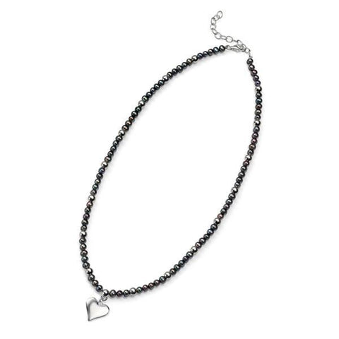 Black Freshwater Pearl & Silver Heart Necklace-VAVOO