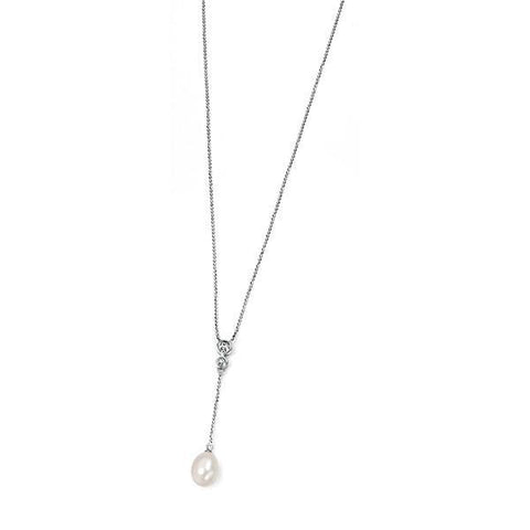 CZ Pearl Drop Silver Necklace-VAVOO