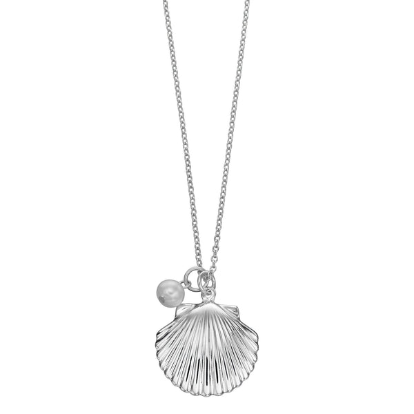White Freshwater Pearl Shell Silver Necklace-VAVOO