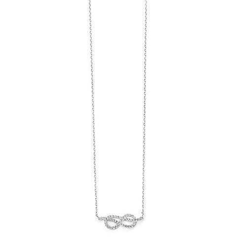 Clear CZ Infinity Sterling Silver Necklace-VAVOO