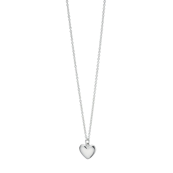 Small Solid Puffed Heart Silver Necklace-VAVOO