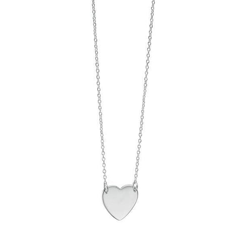 Heart Disc Tag Silver Necklace-VAVOO
