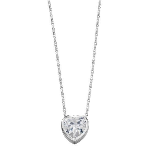 CZ Heart Silver Necklace-VAVOO