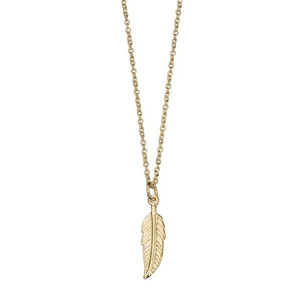 Gold Plated Feather Silver Necklace-VAVOO