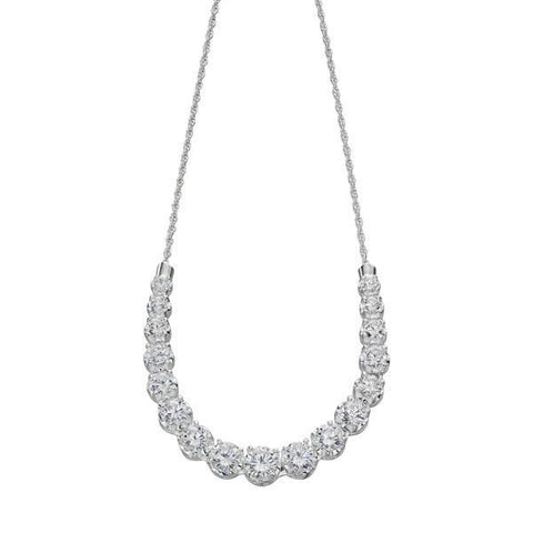 Graduated CZ Silver Necklace-VAVOO