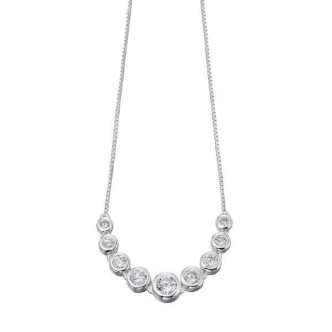 Multi Round CZ Silver Necklace-VAVOO