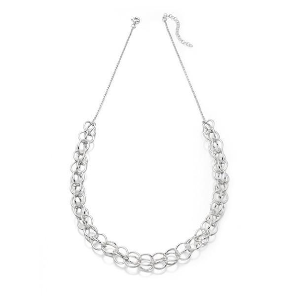 Open Sphere Silver Necklace-VAVOO
