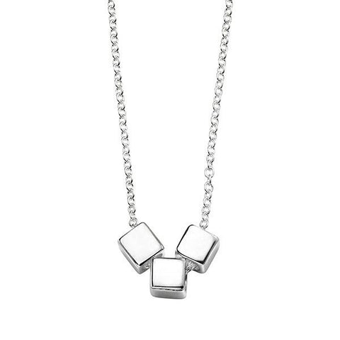 Silver Cube Slider Necklace-VAVOO