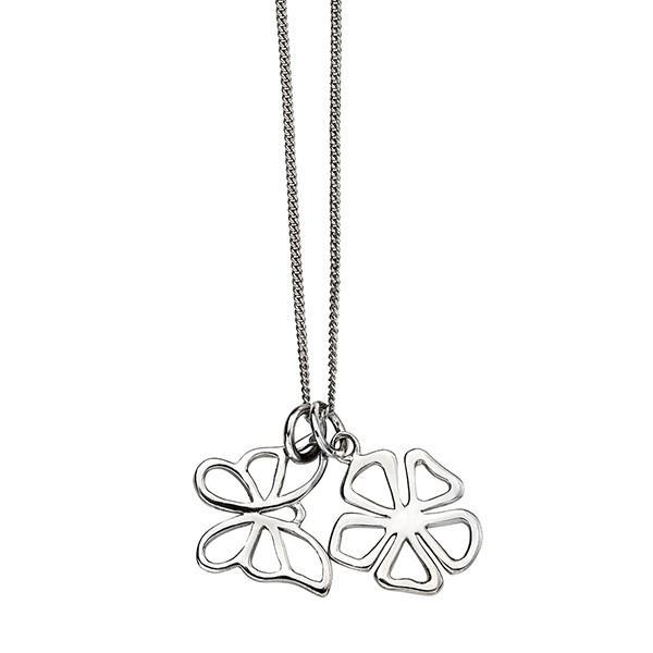 Double Open Flower Silver Necklace-VAVOO