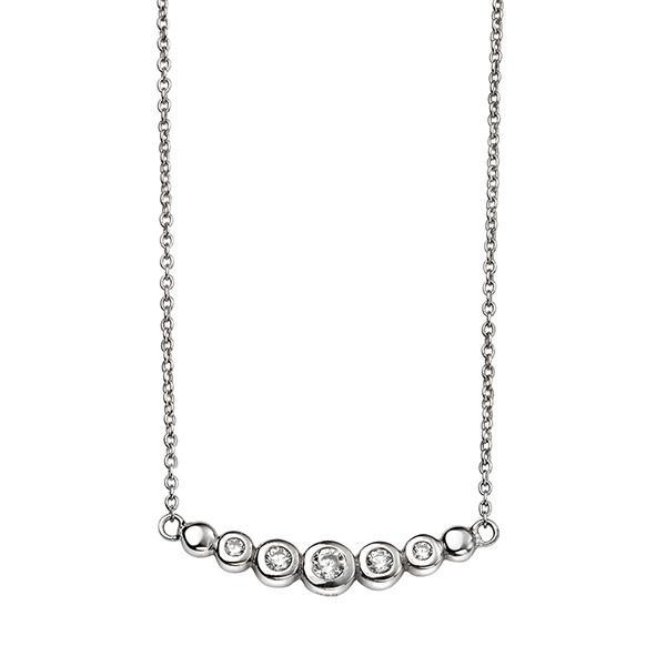CZ Curved Bar Silver Necklace-VAVOO