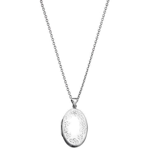 Engraved Flower Design Locket Silver Necklace-VAVOO