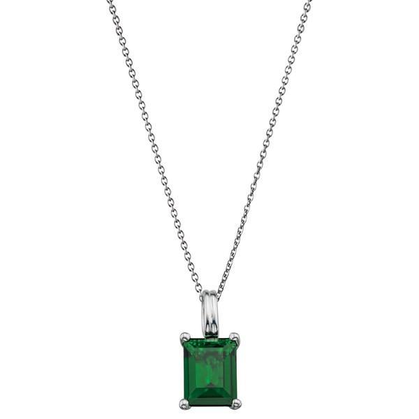 Emerald CZ Silver Necklace-VAVOO
