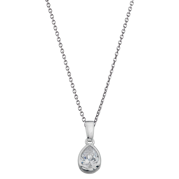 Teardrop Clear CZ Silver Necklace-VAVOO