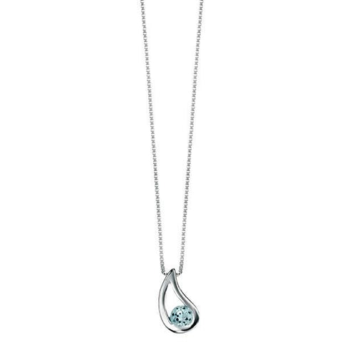 Blue Topaz CZ Checkerboard Silver Necklace-VAVOO