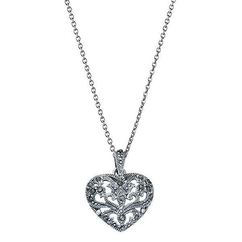 Marcasite Patterned Heart Silver Necklace-VAVOO