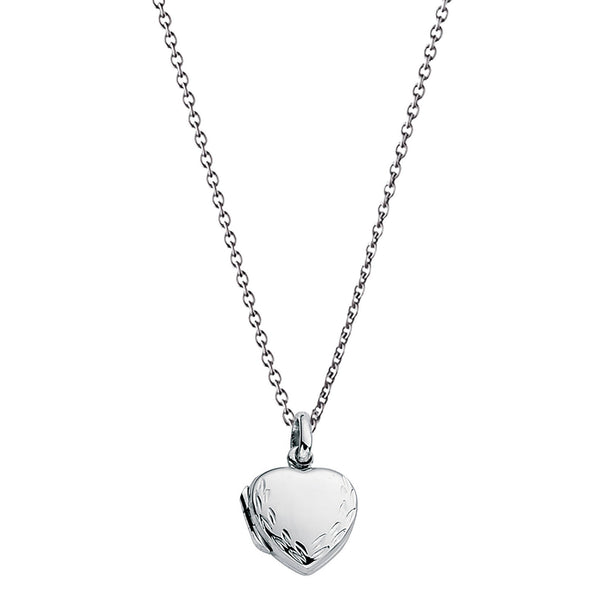 Small Engraved Heart Locket Silver Necklace-VAVOO