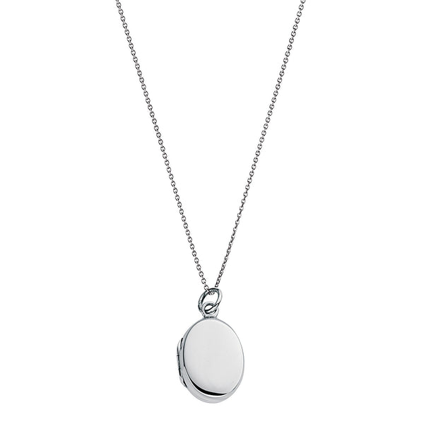Small Plain Oval Locket Silver Necklace-VAVOO