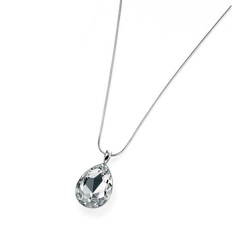 Clear Swarovski Crystal Teardrop Silver Necklace-VAVOO