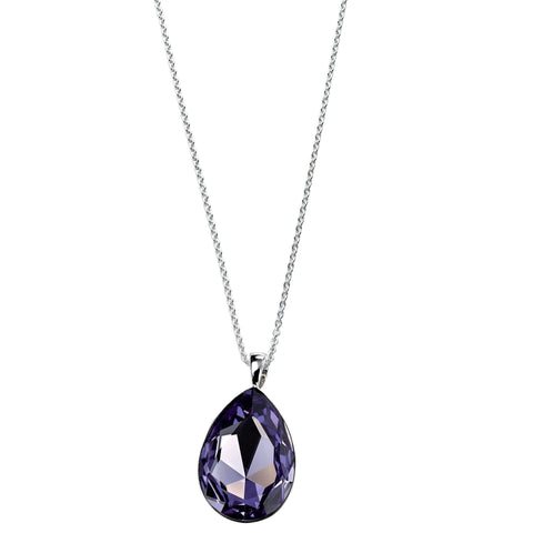 Tanzanite Swarovski Crystal Teardrop Silver Necklace-VAVOO